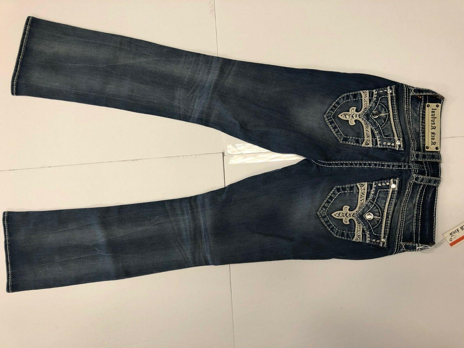 NWT Women ROCK REVIVAL JEANS LUZ B400 225$ BLUE CRYSTALS SIZE 26