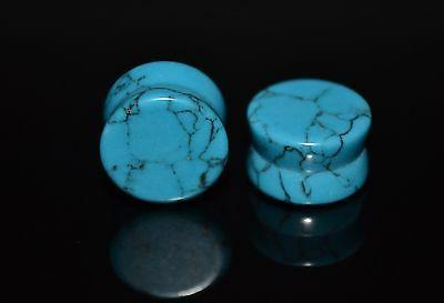 pair 2 light blue synthetic turquoise stone