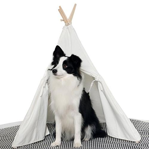 new concept a1751 1bcbc little dove HAN-MM Pet Teepee Dog Toy Tent Classical Pure White Canvas Style