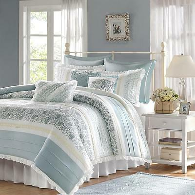 pleat and ruffle detail 9 piece comforter