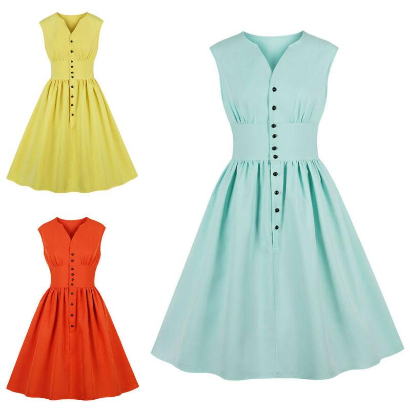 Plus Size Rockabilly Vintage Style Womens Party Skater Dress