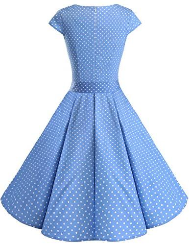 DRESSTELLS Retro Color Swing Dress with Blue Dot S