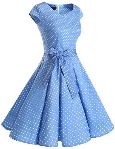 DRESSTELLS 1950s Color Swing Dress with Blue Small S