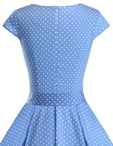DRESSTELLS 1950s Color Cocktail Dresses Swing with Cap-Sleeves Blue Small S