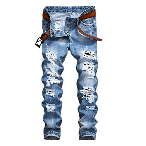 ripped destroyed slim fit denim