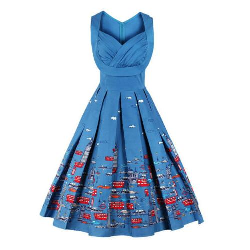 Vintage Pleat Swing Retro Housewife Party Dress