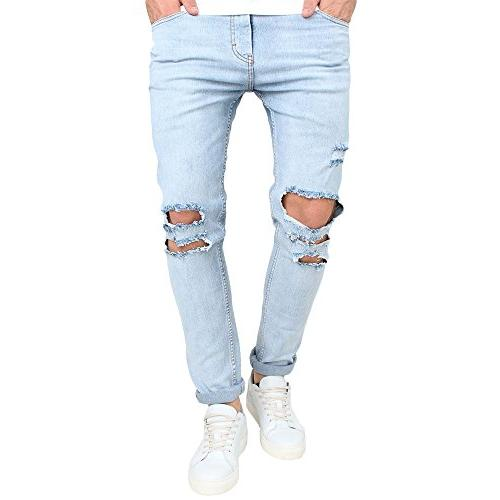 slim fit light ripped jeans