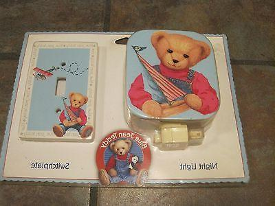 switchplate and night light blue jean teddy