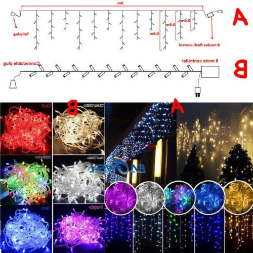 US Christmas Indoor Outdoor LED Icicle Curtain Lights Decor String Light