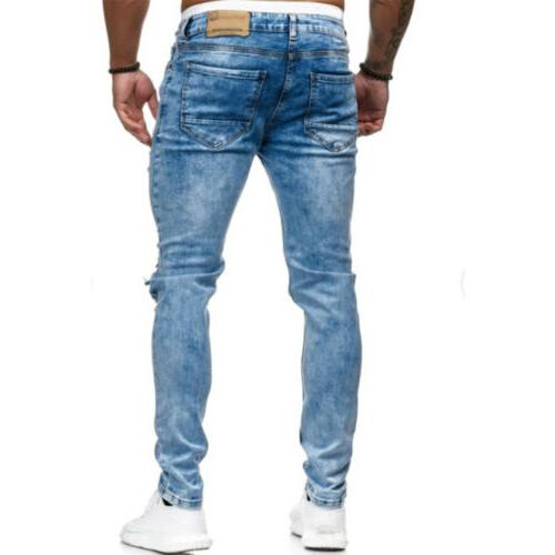 US Jeans Distressed Frayed Destroyed Slim Pants Trousers