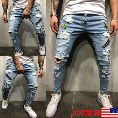 us men stretchy ripped skinny biker jeans