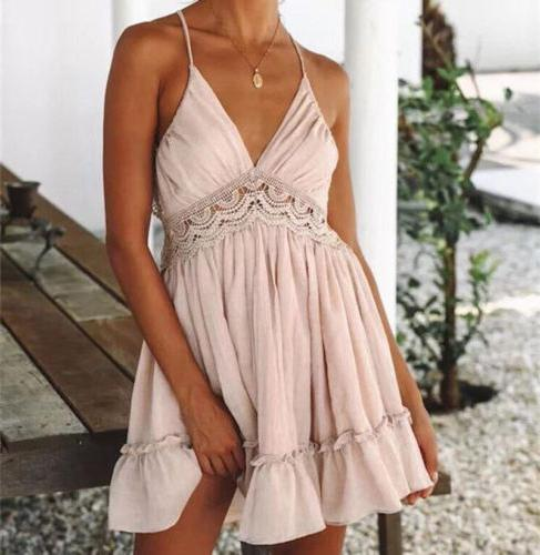 US Sexy Casual Party Beach Sundress