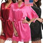 US STOCK Women's Lady Sexy Lace Sleepwear Satin Nightwear Li