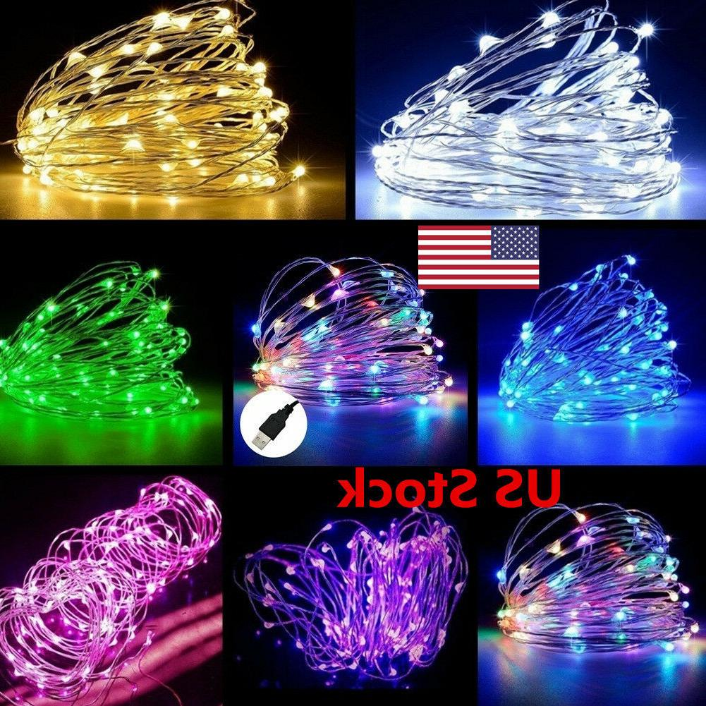 US USB 5M/10M/20M LED Copper Wire String light Indoor Outdoo