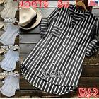 US Women 3/4Sleeve Striped T-Shirt Ladies Casual Loose OL To
