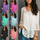 US Womens Sexy Lace V-neck Long Sleeve T Shirts Casual Loose