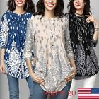 USA STOCK Women Loose 3/4 Sleeve Causal Tunic Tops Blouse T-