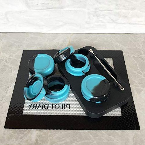Pilot Diary Kit Containers 5ml Silicone Stand + Stainless Wax Carving Tool Nonstick Mat 5.5″ x 4.5″ - Dark&Blue