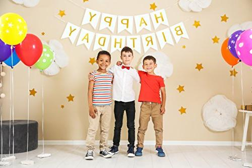 White Card Stock Party Garland Felt Letters for Happy Decor Gold Flags Ornaments Personalized