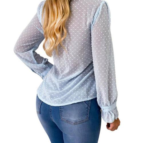 Women Casual Solid Long Sleeve Shirt V Tops Blouses