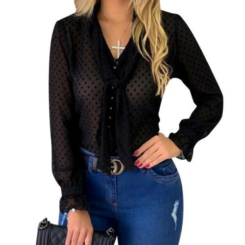 Women Casual Solid Button Long Shirt Ladies V Tie Front Tops Blouses