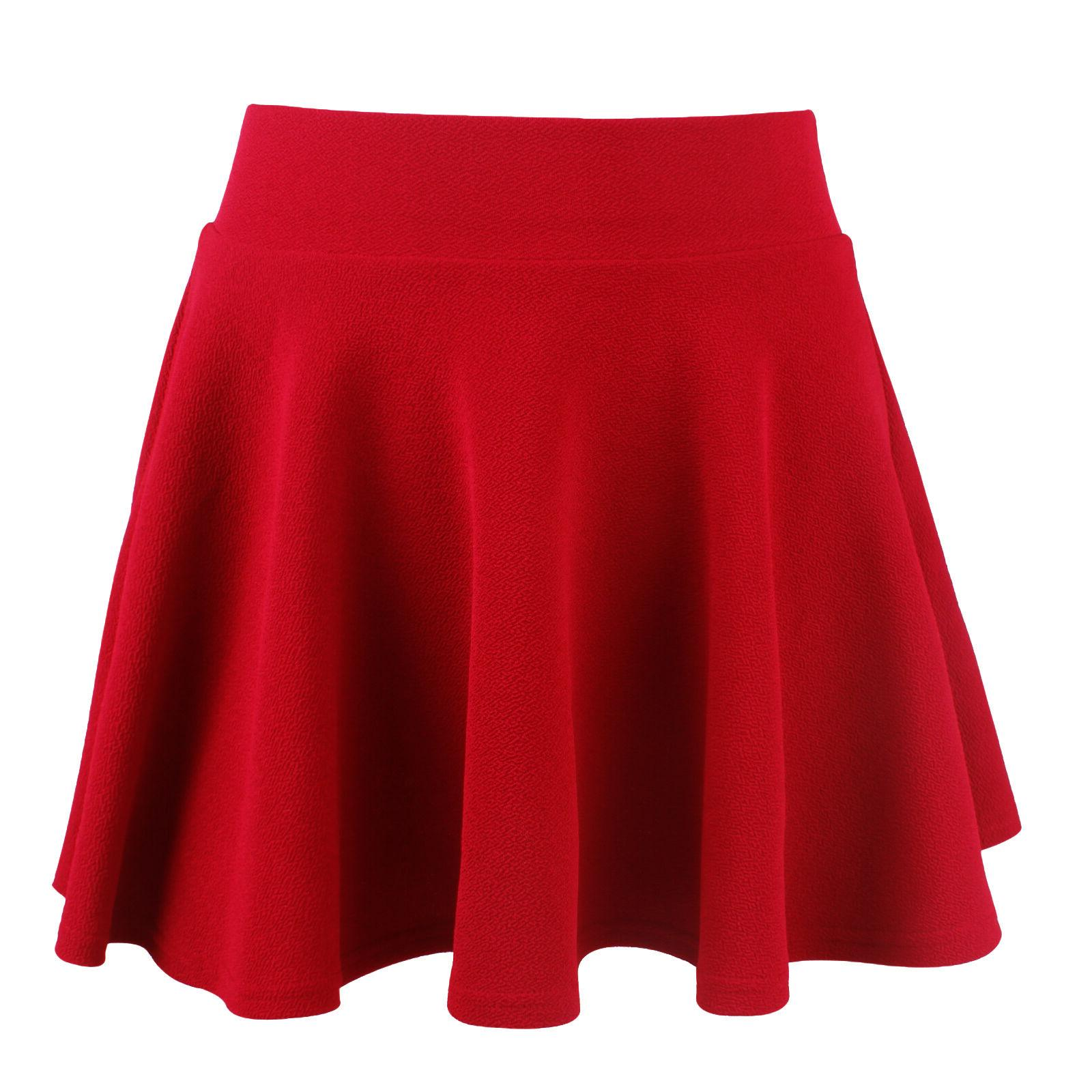 Women Skater Skirt Pleated A Line Circle Elastic Stretch Waist USA