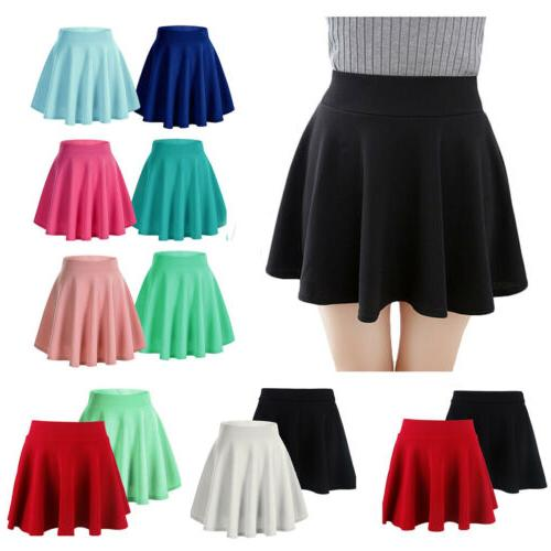 Women Girls Pleated Flared Circle Elastic USA