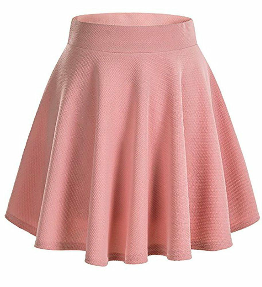 Women Girls Skater Skirt Pleated A Circle Elastic Waist USA