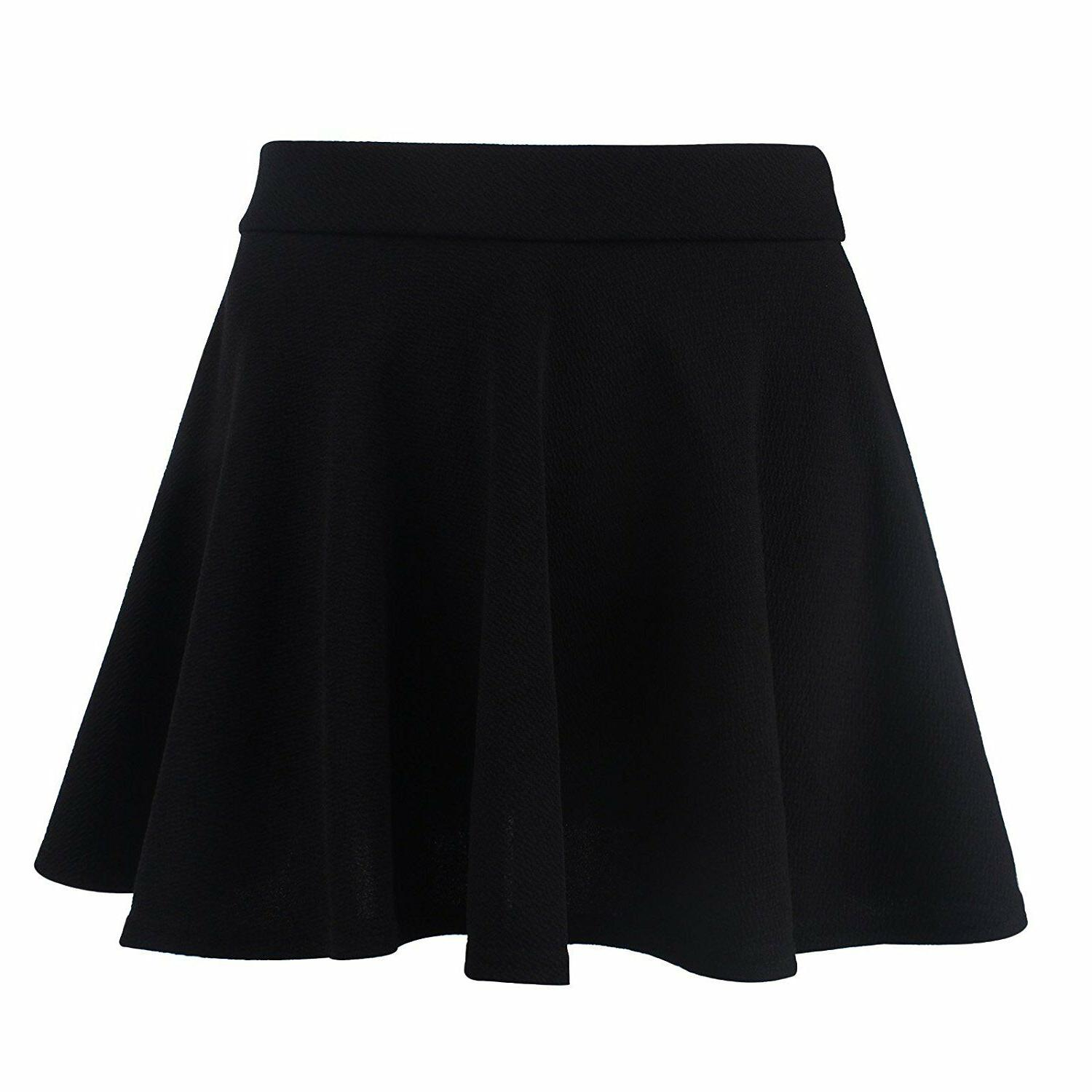 Women Girls Skater Skirt Pleated Flared A Circle Elastic USA