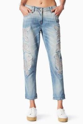 Miss Me women jeans Embroidered Boyfriend ankle Light Blue s