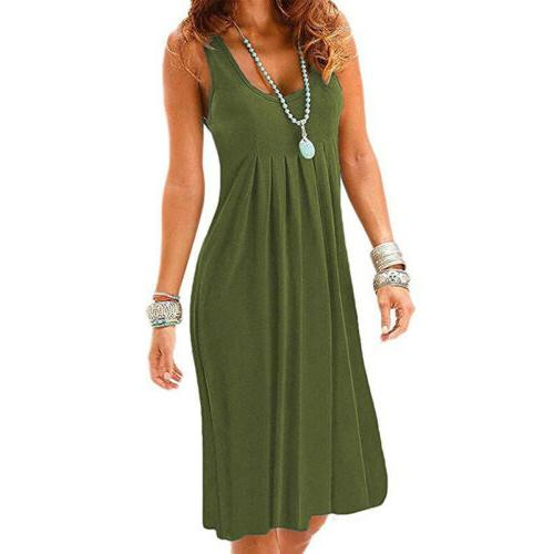 Women Loose Solid A Line Midi Dress Casual Plus Size