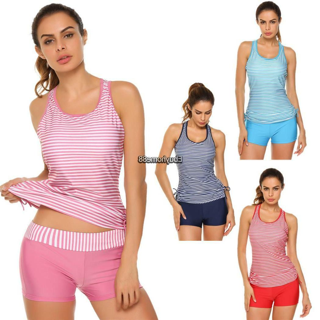 Women Padded Striped Adjustable Tankini 2