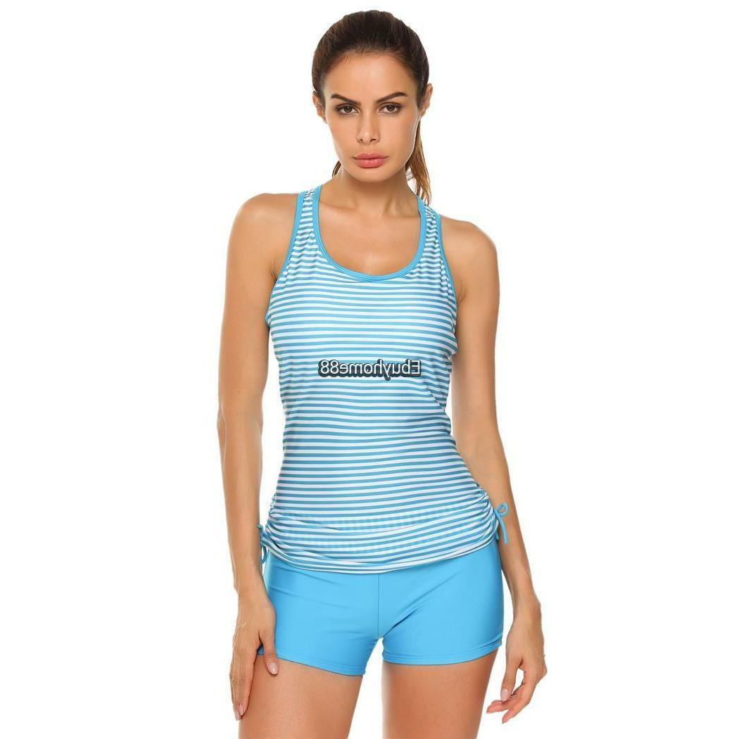 women padded striped racerback adjustable tie tankini