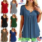 Women Ruffle O Neck Swing Tunic Blouse Button Loose Tee Summ