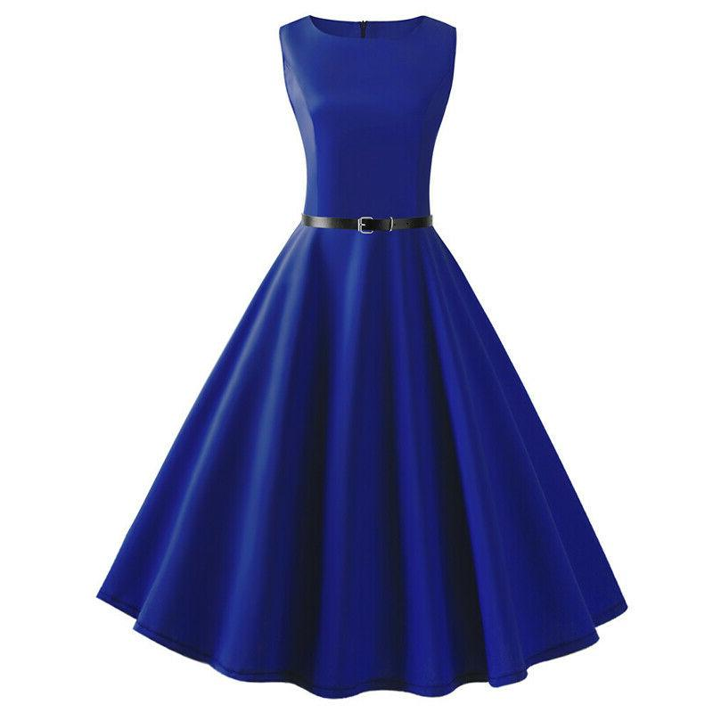 Women's 50s 60s Pinup Plain Swing Party Dress