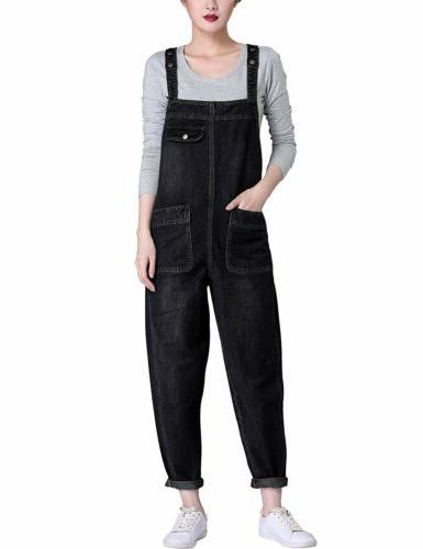 Yeokou Women's Casual Denim Cropped Harem Overalls Pant Jean