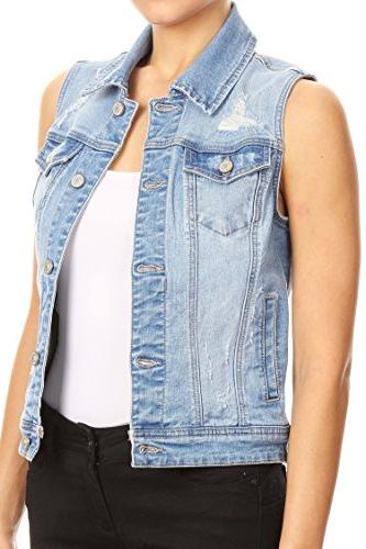 Vialumi Women's Distressed Enjean Denim Vest Blue