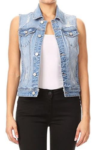 women s distressed sleeveless enjean denim vest