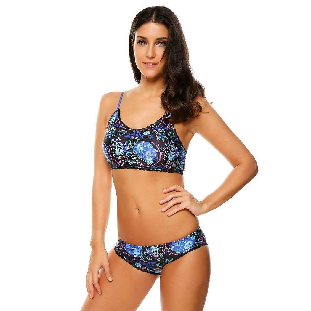 Women's Lace Trim Floral 2 Piece Set Swimwear GFEQ