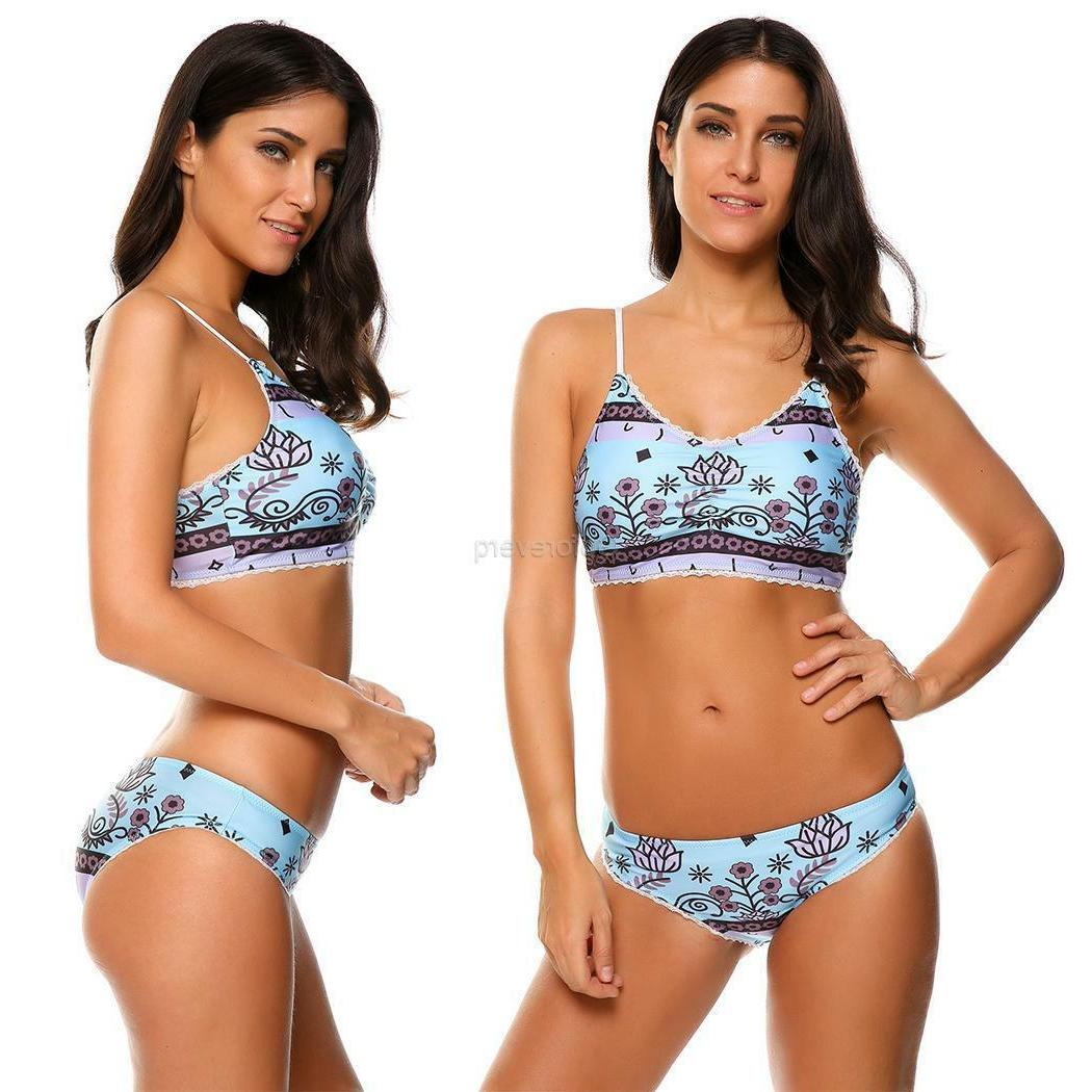 Women's Push Up Lace Trim Padded Bikini 2 Piece Set Swimwear GFEQ