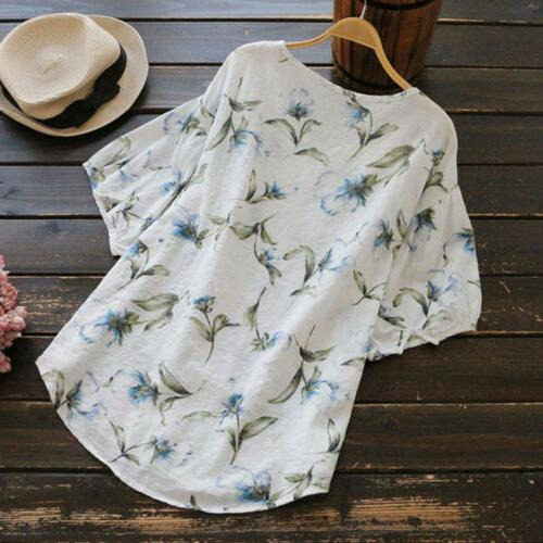 Women's Summer Blouses Baggy Tops Tunic T Size