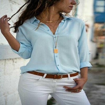 Women's Solid Cuffed Blouses Office