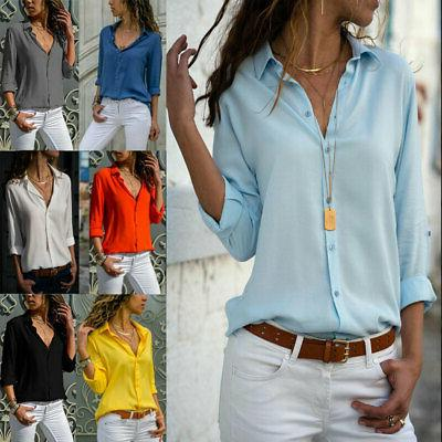 women s v neck solid cuffed sleeve