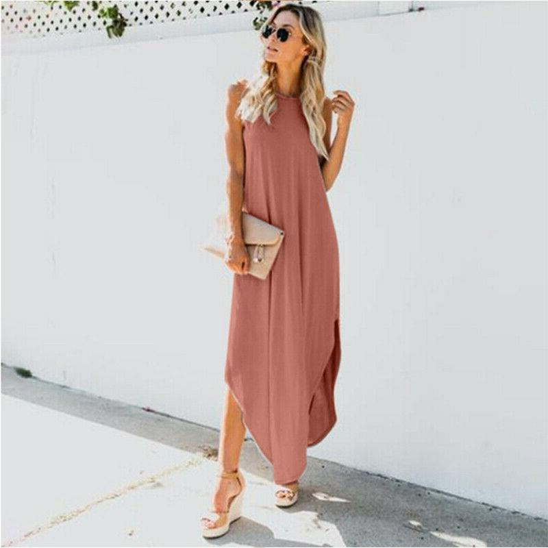 Women Sleeveless Maxi Long Dress Summer Kaftan Sun Dress Size