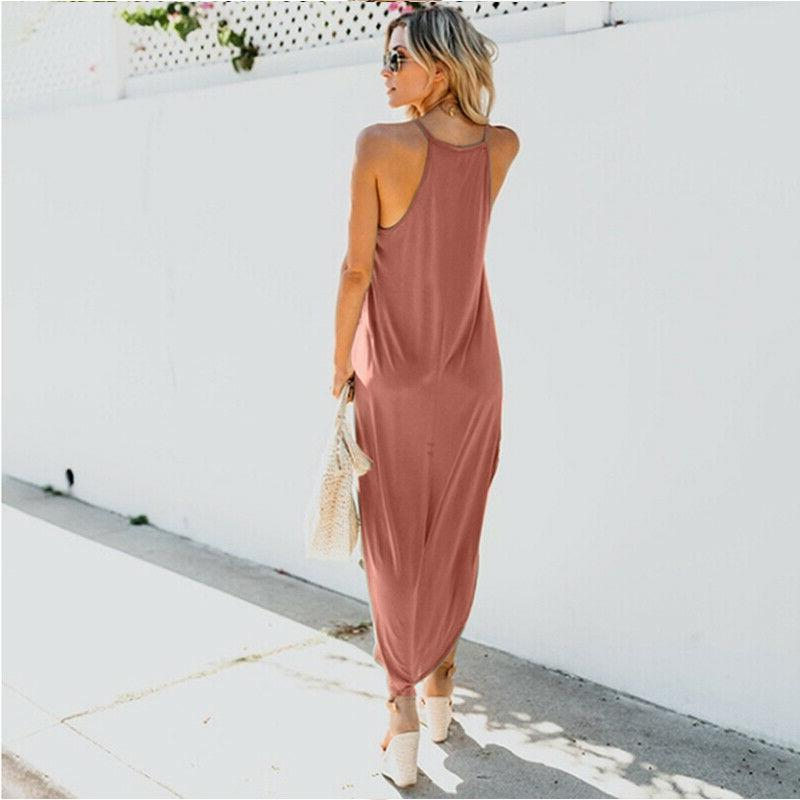 Women Sleeveless Maxi Long Dress Kaftan Sun Dress Size