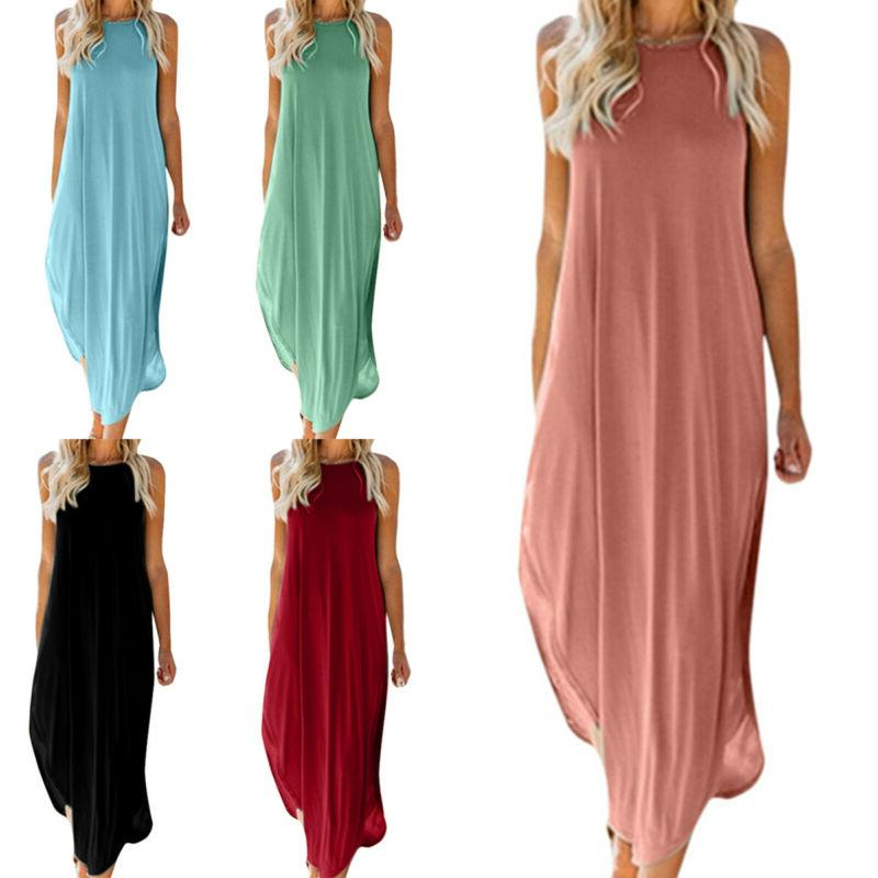 women sleeveless maxi long dress summer holiday