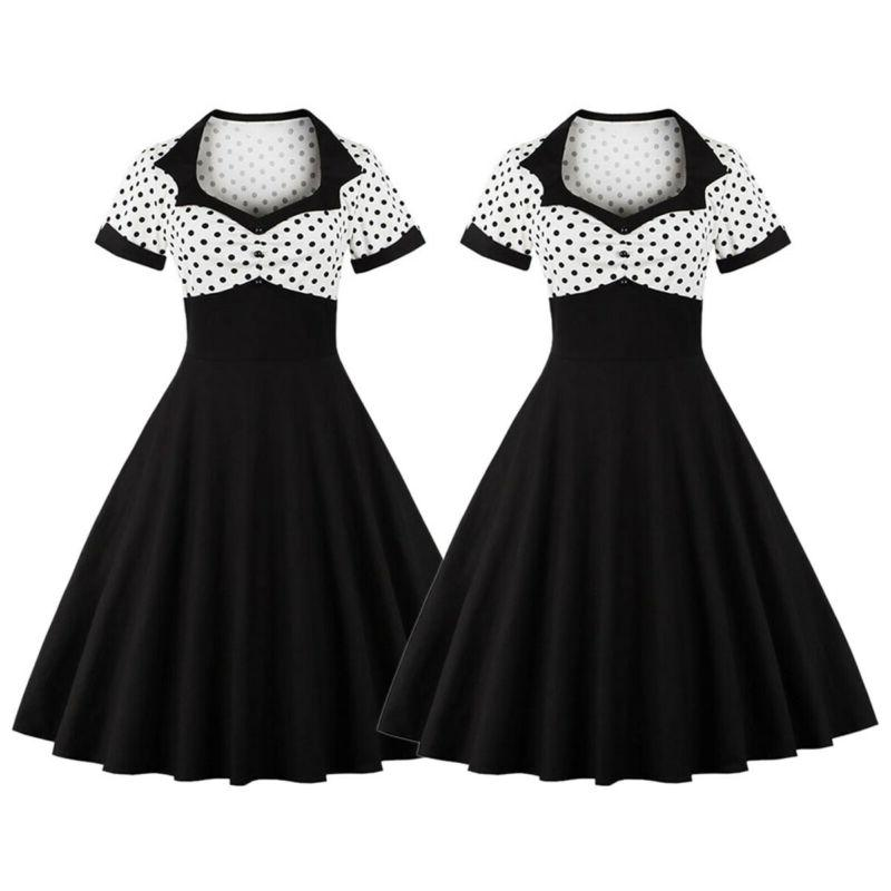 Womens 50s 60s Vintage Housewife Party Dress