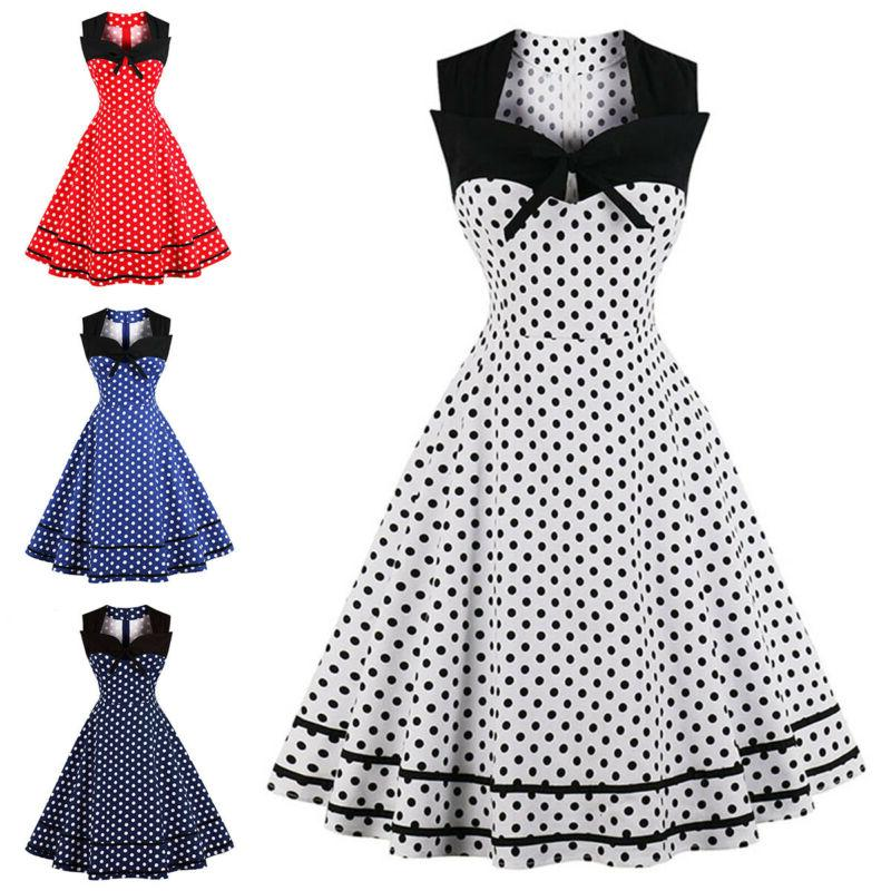 Womens Vintage Rockabilly Housewife Evening Party Swing Dress