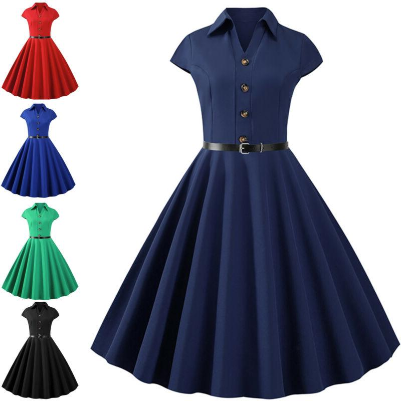 Womens 60s Vintage Rockabilly Floral Housewife Swing Dress