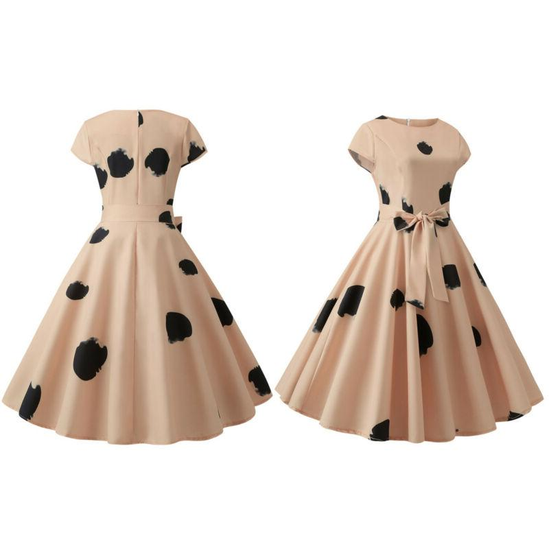 Womens 50s 60s Rockabilly Floral Swing Skater